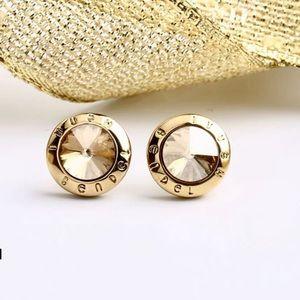 Henri Bendel Swarovski Stud Earrings Champagne